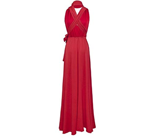 Infinity Kleid inklusive Bandeau Top, Ballkleid Brautjungfernkleid Gr. 42-48 viele Farben Wickelkleid lang, 70 Verschiedene Wickelarten Brautkleid, Bridesmaid, one Size, Stretch (Rot, 2 (42-48))