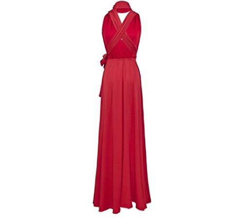 Infinity Kleid inklusive Bandeau Top, Ballkleid Brautjungfernkleid Gr. 34-42 Wickelkleid lang, 70 Verschiedene Wickelarten Brautkleid, Bridesmaid, one Size, Stretch (Rot, 1 (34-42))