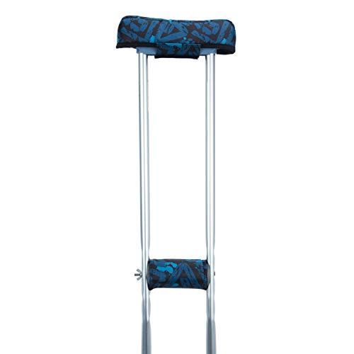Crutch Pads Underarm Pad for Crutch with Crutch Hand Grip Covers Fits Most Standard Sized Crutches, Comfortable Crutch Accessories Underarm Pad and Hand Grips Cover to Relieve Pressure (Blue Geometry)