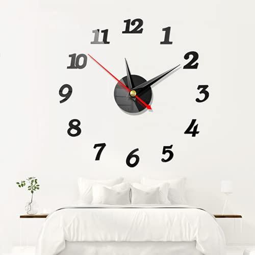 Suneech Reloj de Pared para Bricolaje, 3D DIY Reloj de Etiqueta de Pared Decoración, Números Romanos 3D Relojes Adhesivo De Pared Espejo pared grande para Cocina, Sala de Estar, Oficina (Negro)