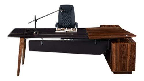 Schreibtisch 'Roosevelt' Kunstleder Rosenholzoptik Chef Büromöbel Exklusiv Jet-Line 2.2 m Sideboard inklusive Büro Möbel