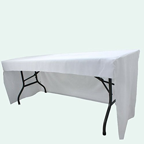 Event Decor 6 ft Fitted White 3 Sided Rectangular Trestle Exhibition Tablecloth Venue Occasion Venue