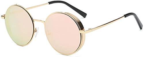 MaoDaAiMaoYi Herren Und Damen Runde Sonnenbrille Rosennie Mode Living Frauen Männer Mode Quadrate Metallrahmen Marke Klassische Sonnenbrille Uv400 Kleine Runde Spiegel Reflektierendes Objektiv Polaris