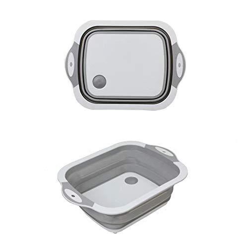 HAOXIANG Cocina Multifuncional Plegable Tabla de Cortar, Tabla de Cortar de plástico, compartida Antibacteriano y Prueba de Moho Tabla de Cortar, 3 en 1 Cesta de Drenaje