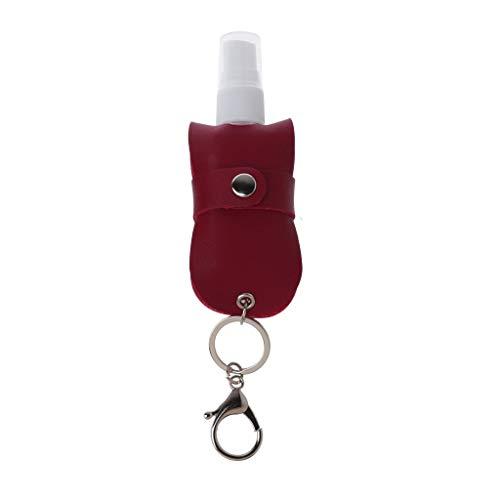 Botella de spray portátil de 50 ml, botella de spray de plástico vacía a prueba de fugas, recargable, con soporte para llavero de cuero.
