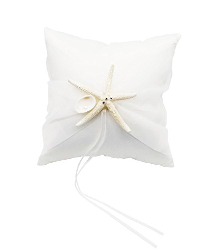 "Yunko Starfish Shells Sea Style Beach Party Wedding Satin Ring Bearer Pillow 8""X 8"""
