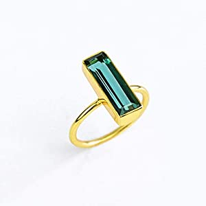 Green Tourmaline Gemstone Bar Ring, October Birthstone