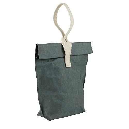 BIOZOYG Lunchbox Yummy Plus Größe L - umweltfreundliche Tasche für Lunchbox aus waschbarem Papier I Lunchtasche faltbar im Urbanstyle Made in Germany - Lunchbag groß 23 x 33 cm Natural Anthrazit