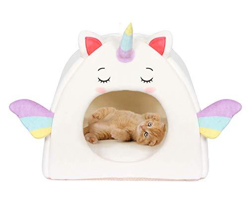 All Fur You Cama para gatos con diseño de unicornio, casa para gatos de interior y cubby para gatos o gatos, cama de cúpula para gatos, tienda de campaña iglú, para mascotas, cuevas, gatos, hogar, cubos de fieltro, cálidos, acogedores, cuevas, cabañas para gatos, camas cubiertas para cachorros
