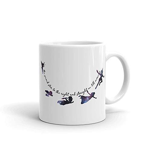 Lplpol Weiße Tasse mit Peter Pan-Motiv, einzigartiges Geschenk für Festivals, Geburtstage, 425 ml