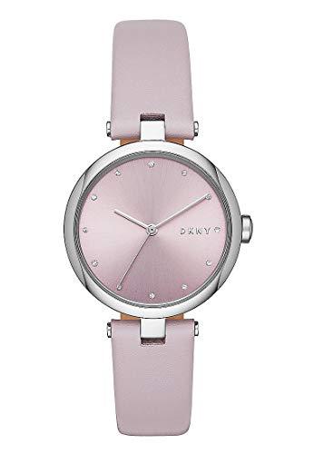 DKNY Damen-Uhren Analog Quarz One Size Lila Leder 32001766