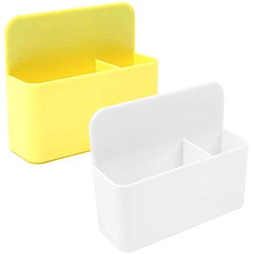 2 Stück Whiteboard Magnetischer Stifthalter Magnetischer Marker Halter Magnetischer Stiftehalter Magnet Ablage mit 2 Fächern für Whiteboard, Kühlschrank, Spind und andere magnetische Oberflächen