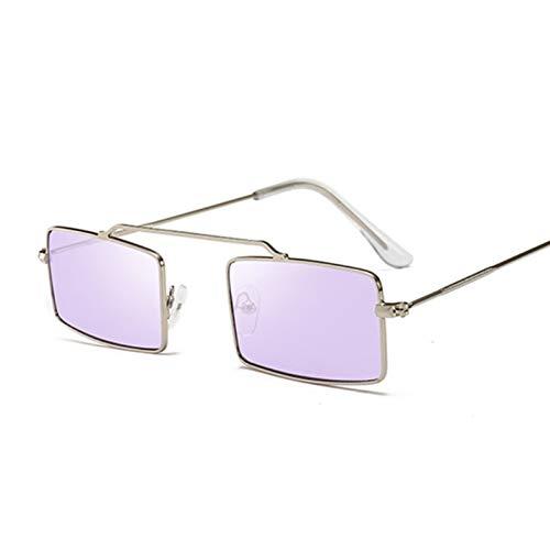 AleXanDer1 Gafas de Sol Gafas de Sol púrpuras cuadradas Gafas de Sol de Marco de Metal para Mujer (Lenses Color : SilverPurple)