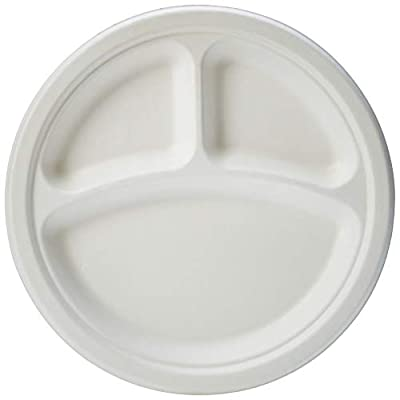 AmazonBasics Compostable 3-Compartment Plates, 9-Inches, Pack of 500