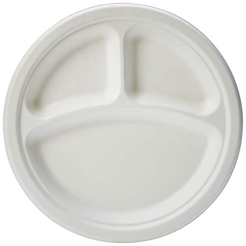 Amazon Basics - Piatti usa e getta, ecologici, compostabili e biodegradabili, 3 scomparti, 23 cm, confezione da 125