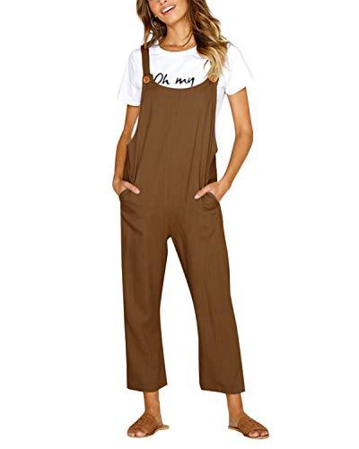 CNFIO Latzhose Damen Jumpsuit Baggy Overalls Baumwolle Lässige Riemchen Overalls Playsuit mit Taschen Braun XL
