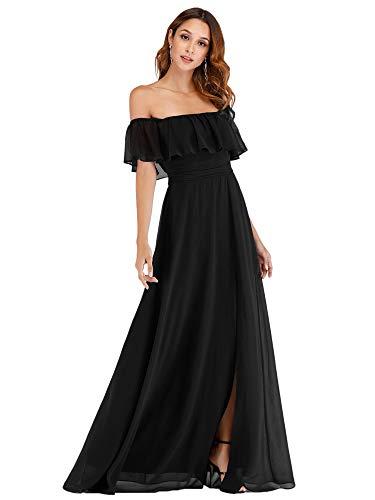 abito donna nero lungo Ever-Pretty Vestito da Cerimonia Donna dalla Spalla Linea ad A Chiffon con Spacco con Volantes Stile Impero Lungo Nero 44