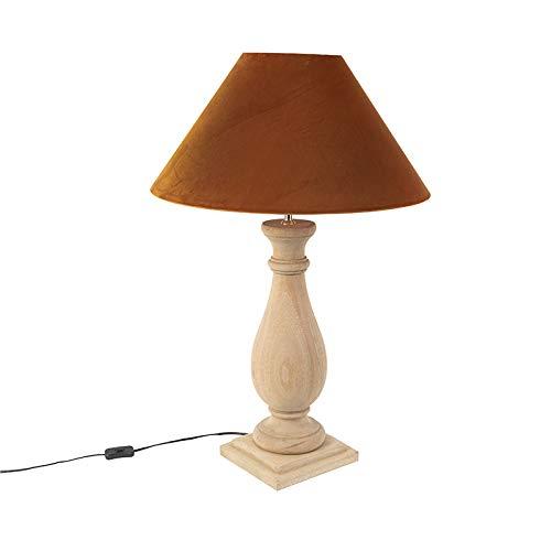 QAZQA rustieke tafellamp/lamp om neer te zetten/licht/verlichting Country lampenkap van fluweel groen mosgroen 55 cm – Burdock hout / linnen bruin, cilindergroen / rond E27 max. 1 x 60 watt/in.
