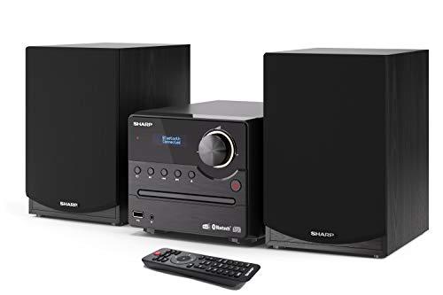SHARP XL-B517D(BK) Micro So& System Stereo mit DAB, DAB+, FM, Bluetooth, CD-MP3, USB-Wiedergabe, Holzlautsprecher & 45 W schwarz