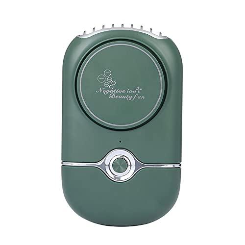 Ventilador de enfriamiento sin hojas USB Secador de pestañas de iones negativos recargable portátil Verde 76 * 41 * 139 mm