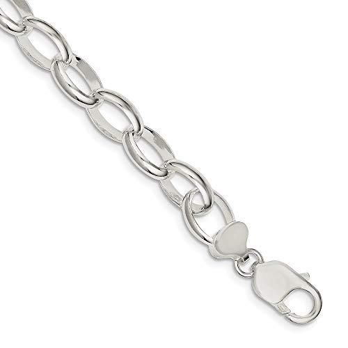 925 Sterling Silver 10mm Rolo Bracelet Chain Fancy Charm Fine Jewelry For Women Gifts For Her