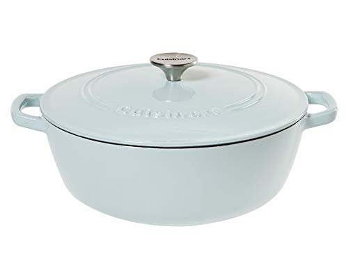 Cuisinart Round Cast Iron Casserole, Light Blue, 5.5 Quart