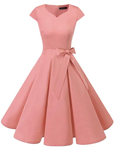 DRESSTELLS Damen 50er Vintage Retro Cap Sleeves Rockabilly Kleider Hepburn Stil Cocktailkleider Blush M