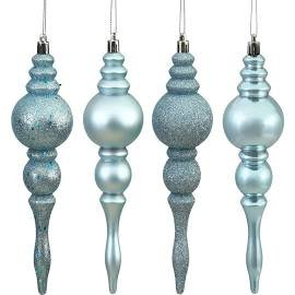 Vickerman N500062 Shatterproof Finial with 4 Separate Finishes (shiny, matte, glitter and sequin) in 8 per box, 4