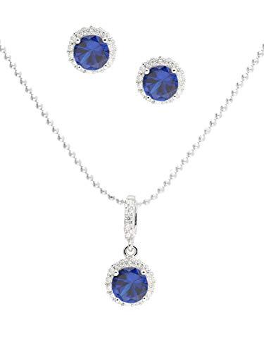 Juego de joyas para mujer (collar y pendientes) de plata de ley 925 con circonitas azules de 45 cm Amazone Set Y-04825-S921-CZC-whi-CZC-blu-F45 cm