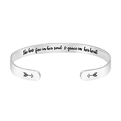"""""""She has fire in her soul and grace in her heart"""" Inspirational Bracelet for Girls Motivational Graduation Jewelry for Her"""
