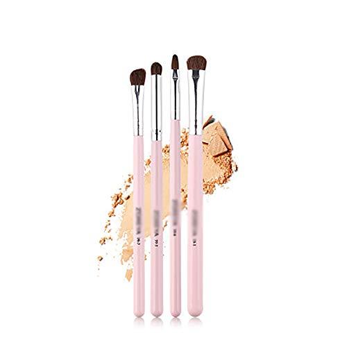 Pinceaux 4Pcs Pinceau De Maquillage Set, Maquillage Des Yeux Brosse Pour Les Débutants Universel Brun Foncé Cheveux Petit Cheval Pinceau,Rose
