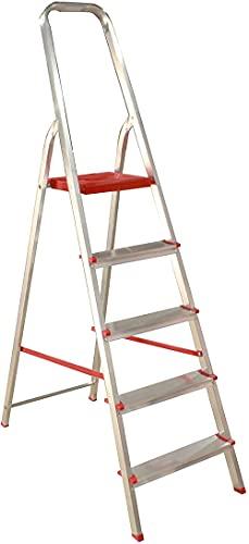Escalera de 5 peldaños Plegables de Aluminio Muy Ligero y con Gran...