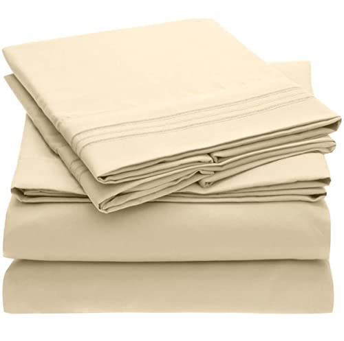 Mellanni Queen Bed Sheets - Hotel Luxury 1800 Bedding Sheets & Pillowcases - Extra Soft Cooling Bed Sheets - Deep Pocket up to 16' - Easy care - Wrinkle, Fade, Stain Resistant - 4 Piece (Queen, Beige)