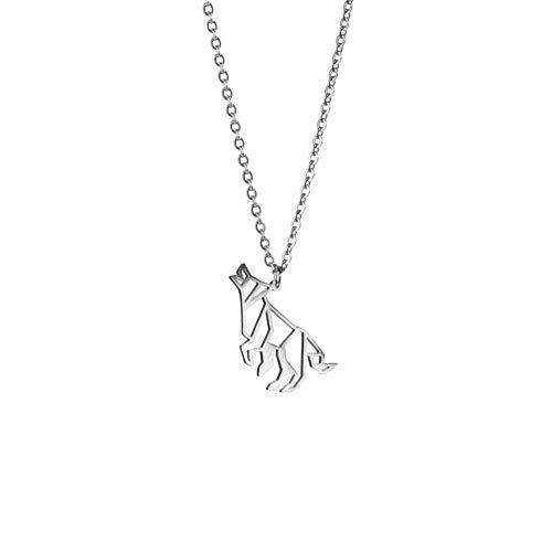 La Menagerie Wolf Silber, Origami-Schmuck & versilberte geometrische Kette - 925 Sterling Silberkette & Wolf-Halsketten für Frauen - Wolf-Halskette für Mädchen & Origami-Halskette