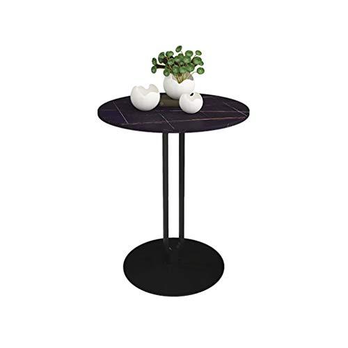Kleiner Couchtisch Schmiedeeis-Seitentisch Wohnzimmer Kleiner Couchtisch Marmor Kleiner runder Tisch Sofa Balkon Kleiner Tisch Aufbewahrung & Organisation ( Color : Black , Size : 45*45*55 cm )
