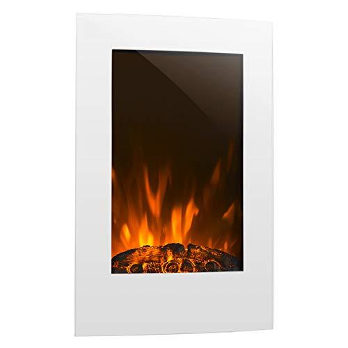 Klarstein Lausanne - elektrischer Kamin, E-Kamin, Kaminofen (Flammensimulation, LED, geräuscharm, 1000W oder 2000W Leistung, Dimm-Funktion, Fernbedienung, Wandmontage) vertikal, weiß