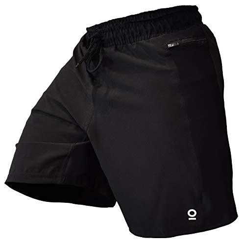 OPTIMAL HUMAN Men's WOD Lightweight Shorts - Best for Crossfit, Bodybuilding, Running, and Gym Workouts   Omega 2 (Black, Large)