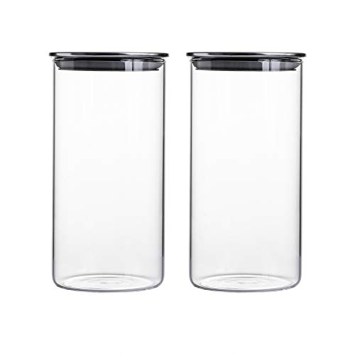 "Clear Glass Canisters/Jars, 4.15"" X 8.5""."