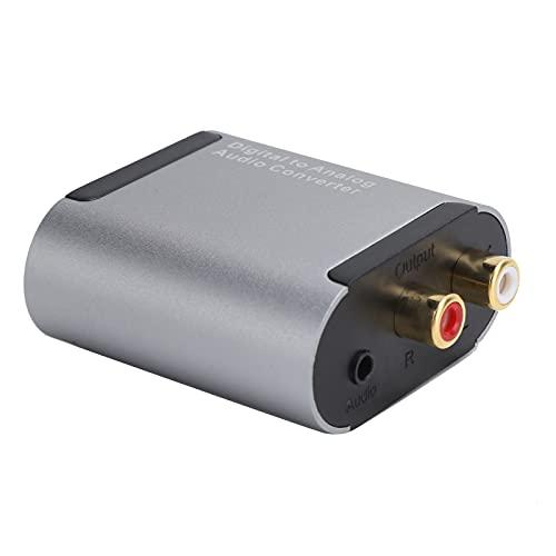 PUSOKEI Digital-Analog-Audio-Wandler, Digital-Audio-Wandler für Toslink/RCA (Koaxial) zu 3,5-mm-Klinkenwandler mit Glasfaserkabel