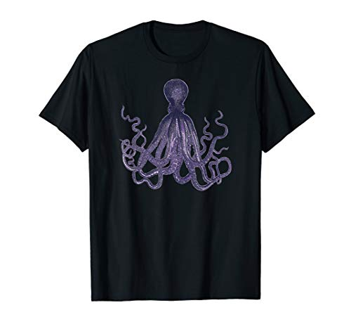Giant Octopus Graphic Tee Shirt, Squid, Sea Life, Vintage