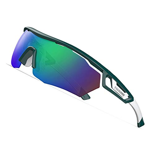 TOREGE Polarized Sports Sunglasses with 3 Interchangeable Lenes for Men Women Cycling Running Driving Fishing Golf Baseball Glasses TR05 (Turquoise&White&Green Lens)