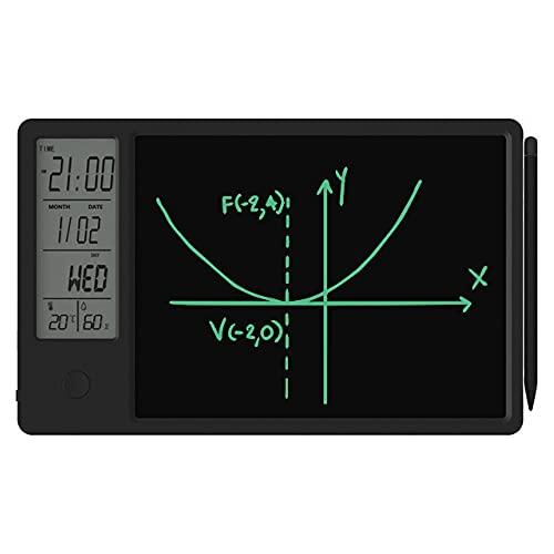 Moye Tableta de Escritura LCD Tablero de Doodle Pantalla de Temperatura y Humedad Reloj Calendario Tablero de Dibujo de 9.5 Pulgadas para Oficina en casa