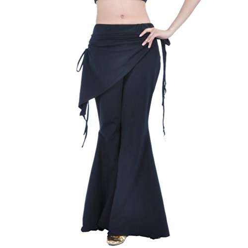 YuanDian Donna Danza del Ventre Pantaloni Gamba Larga Flared Elegante Orientale Fusione Tribale Araba Belly Dance Prestazione Avvolgere Anca Vita Pantaloni Costumi Nero