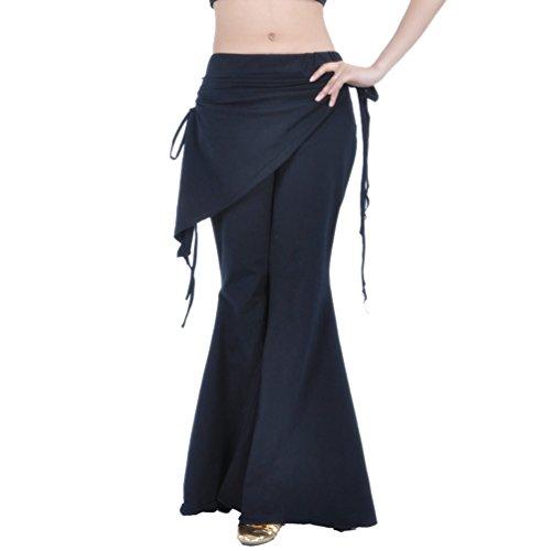 YuanDian Mujer Pantalones De Danza Del Vientre Pierna Ancha Acampanada Elegante Oriental Arabian Tribal Fusion Belly Dance Performance Wrap Cintura Cadera Pantalones Ropa Negro