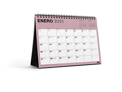 MIQUELRIUS - Calendario de Sobremesa 2021 Chromat - Español, A5 210 x 148,5 mm con espacio para escribir y apuntar, Un color por mes