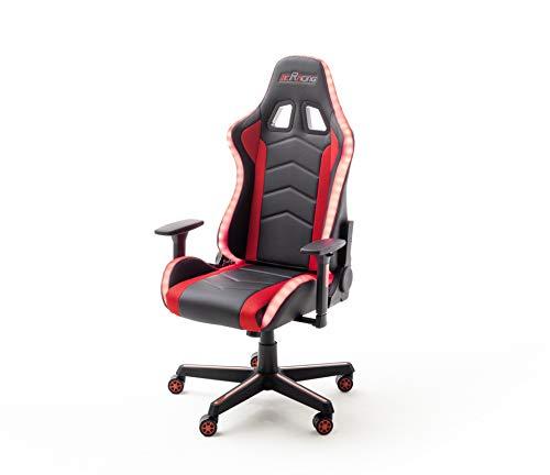 MC Racing Gaming Stuhl Schwarz Weiß höhenverstellbar mit Wippfunktion Gaming Chair mit LED Beleuchtung