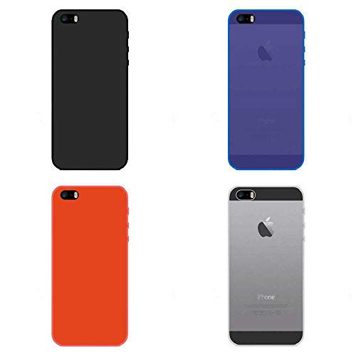 Todo Phone Store Pack X4 Funda Carcasa Case Silicona TPU Gel Lisa Lote Negro Azul Rojo Transparente para Apple iPhone SE 2016/5 / 5S 4G