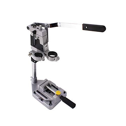 HFS (R) Drill Press Rotary Tool Workstation Stand with Wrench- 220-01- Mini Portable Drill Press- Tool Holder- 2 inch Drill Depth- Ideal for Drilling Perpendicular and Angled Holes- Table Top Drill