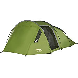 Vango Skye 400 4 Person Tent, Easy-To-Pitch Family Tent with Large Windows and Lights-Out Bedroom Area, Treetops Green