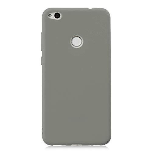 cuzz Funda para Huawei P8 Lite (2017)+{Protector de Pantalla de Vidrio Templado} Carcasa Silicona Suave Gel Rasguño y Resistente Teléfono Móvil Cover-Gris
